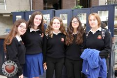 Amy Lombard, 15, Emily O'Reilly, 16, Shannon Collins, 16, Claudia Grosu, 16, and Magdelena Moron, 15 from St. Mary's, Neenagh at the Midwest Empowerment and Equality Conference 2019 in University Concert Hall, Limerick on May 1st. Picture: Zoe Conway/ilovelimerick